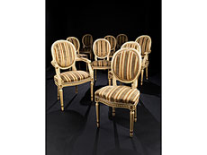 Detail images: Speisezimmer-Garnitur im Louis XVI-Stil