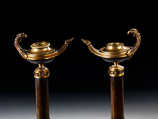 Detail images: Paar Empire-Kerzenhalter in Bronze und Feuervergoldung