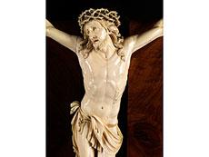 Detail images: Große Hängekreuztafel mit Corpus Christi in Elfenbein