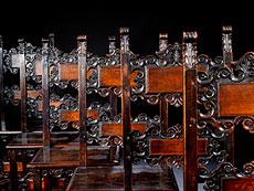 Detail images: Satz von acht Stühlen