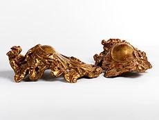 Detail images: Paar geschnitzte und vergoldete Rocaillekartuschen