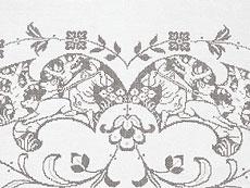 Detail images: Ziertafeltuch mit reichen à-jour-gearbeiteten Jagddarstellungen