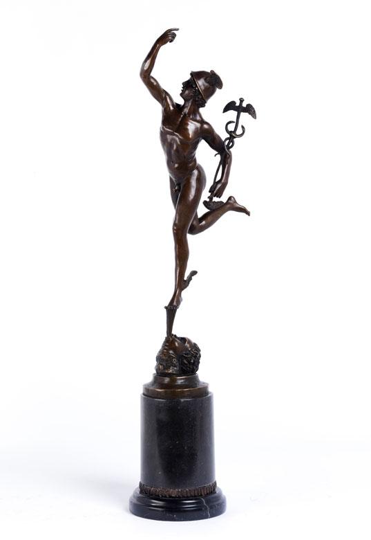 Bronzefigur des Merkur nach Giambologna