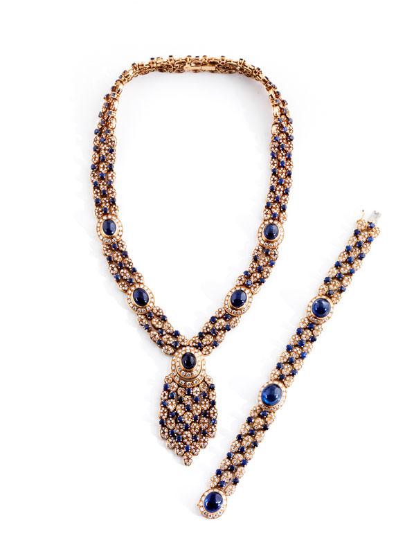 † Safir-Brillantcollier mit Armband