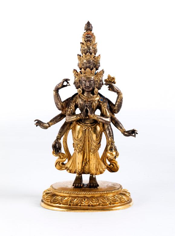 Feuervergoldete Bronzefigur eines Avalokiteshvara