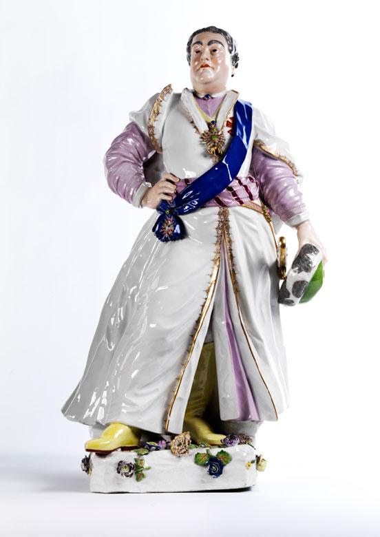 Große Meissener Porzellanfigur des Friedrich August II.