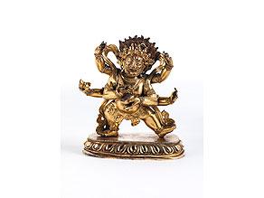 Detail images:  Bronzefigur der Gottheit Mahakala (Sadbhuja Mahahakala)