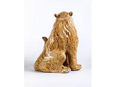 Detail images: Japanische Keramikfigur eines sitzenden Tigers