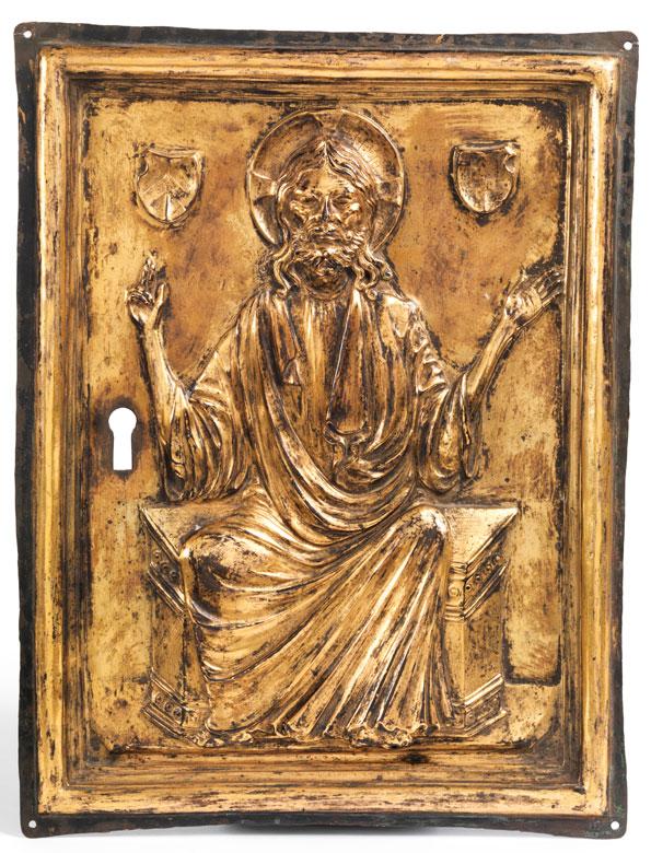 Vergoldete Kupferreliefplatte mit Darstellung des thronenden Christus
