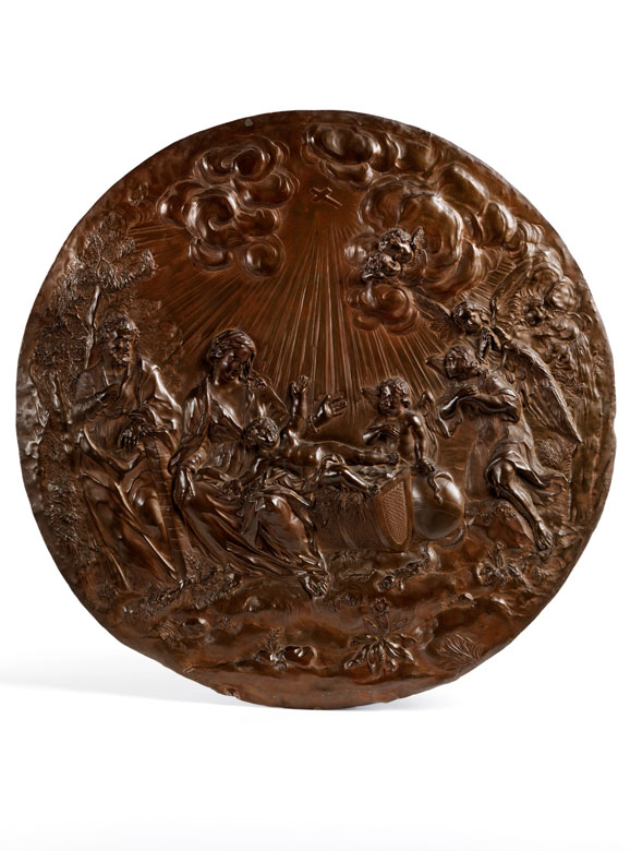 In Kupfer getriebenes Tondorelief des römischen Meisters Angelo De Rossi, 1671 - 1715