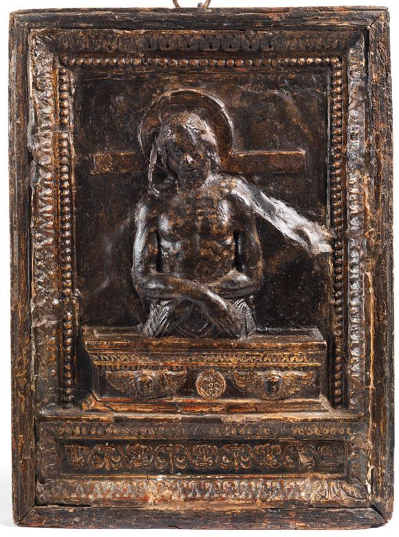 Reliefplatte mit Darstellung des aus dem Sarkophag auferstehenden Christus