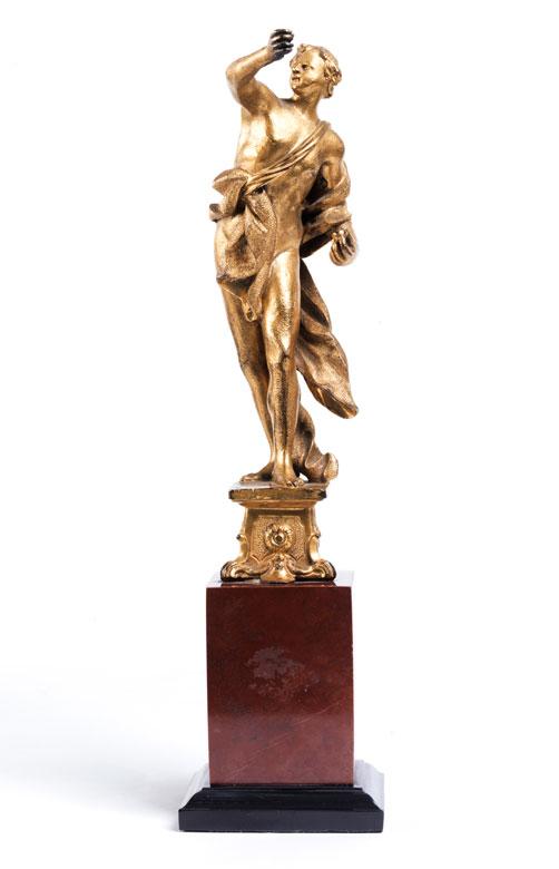 Vergoldete Bronzeskulptur einer antiken Jünglingsgestalt