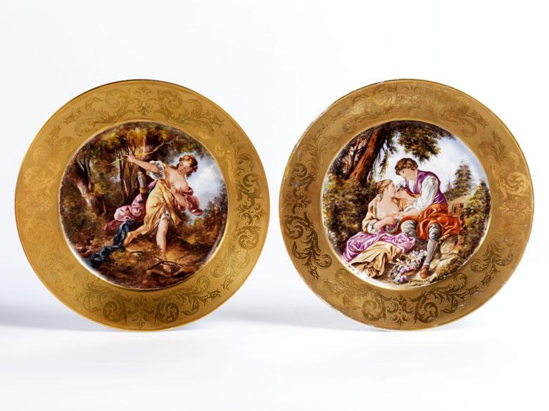Paar Sèvres-Bildteller