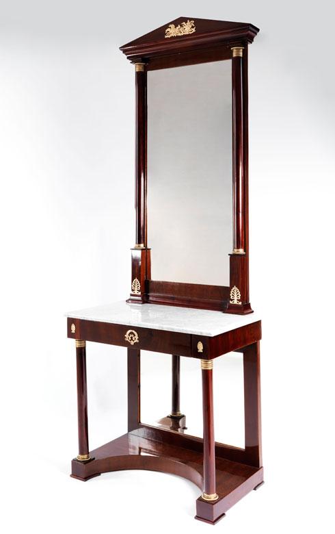 Empire-Spiegelkonsole mit Marmorplatte und geschliffenem Spiegeleinsatz