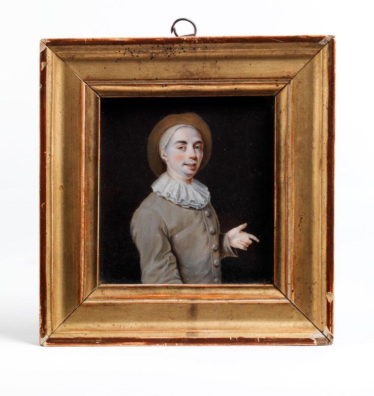 Miniaturportrait eines jungen Mannes in braun-grauem Wams mit Halskrause und Hut