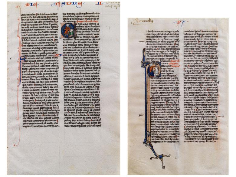 Zwei Miniaturen aus den französischen Proverbiae