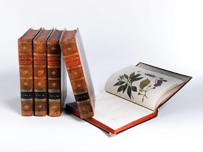 5 Bände mit kolorierten Kupfertafeln