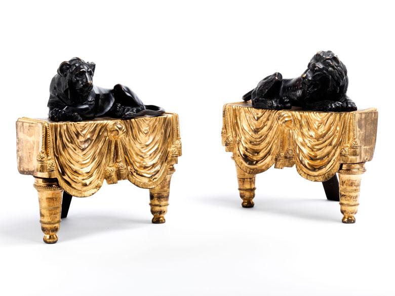 Paar Kaminböcke in brünierter und feuervergoldeter Bronze