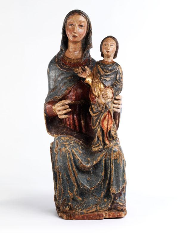 Schnitzfigur einer Heiligen Anna mit der Heiligen Maria