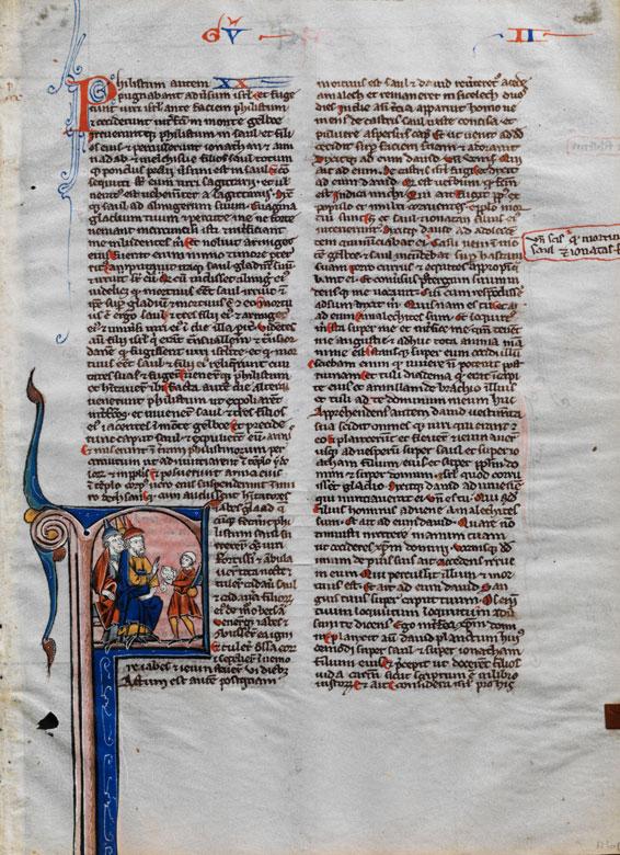 Illustriertes Einzelblatt auf Pergament aus einer Bibelhandschrift des 13. Jahrhunderts mit Schmuck und einer figürlichen Miniatur
