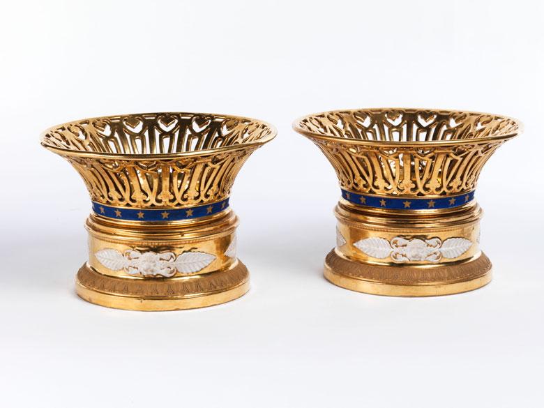 Paar Empire-Porzellankörbe als Tafelaufsätze