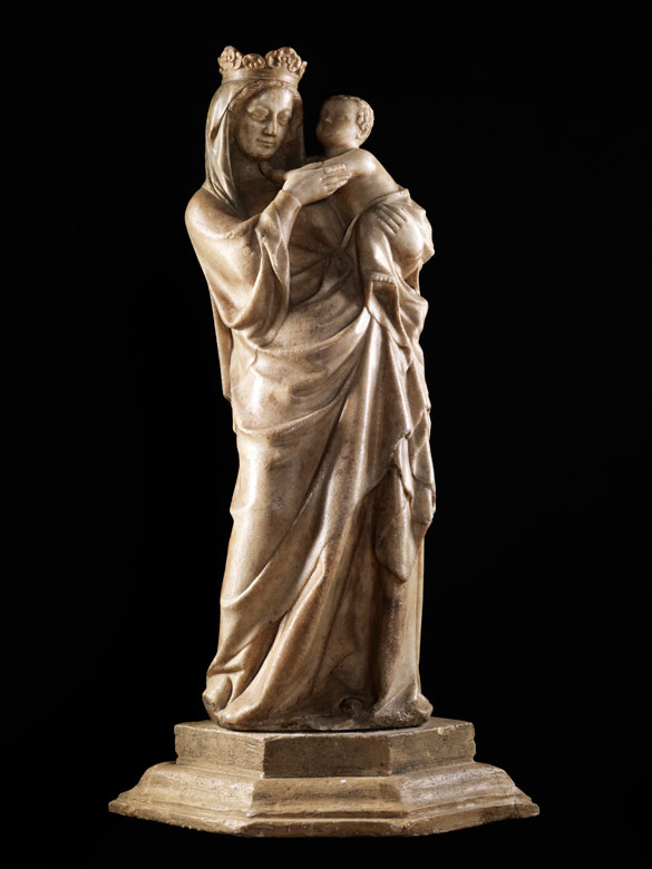 Bedeutende Marmorfigur einer Madonna mit Kind