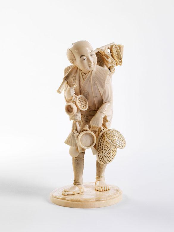 Okimono: Korbverkäufer