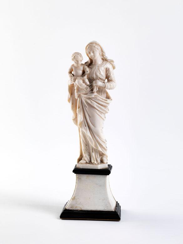 Elfenbein-Statuette einer Madonna mit Kind