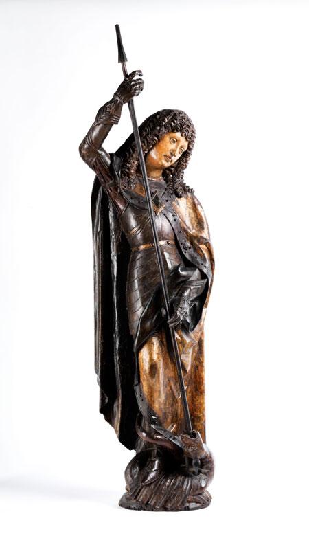 Schnitzfigur eines Heiligen Georg