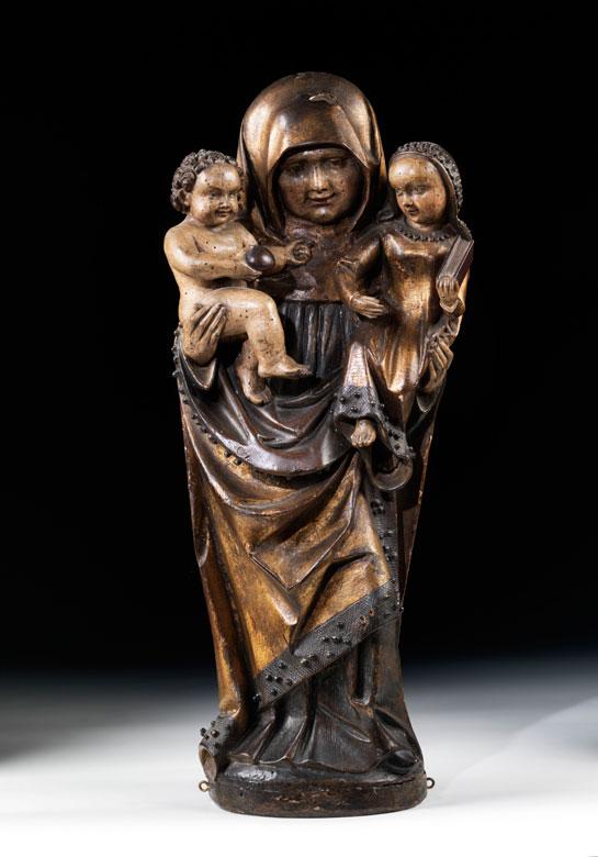 Geschnitzte Anna Selbdritt-Gruppe, der Werkstatt von Jakob Naumann, Thüringen, um 1500 - 1515, zug.