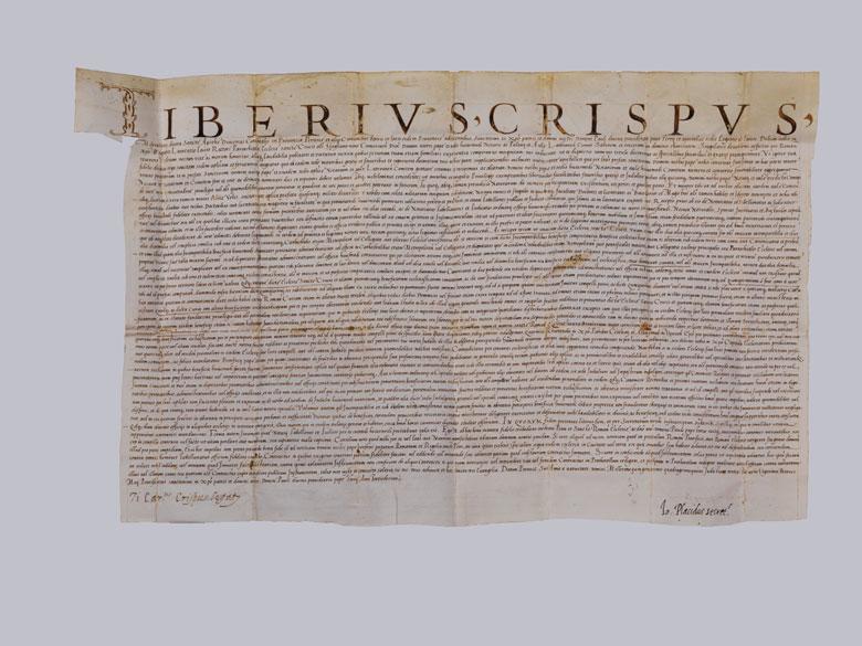 Urkunde des Kardinals Tiberio Crispo von 1545