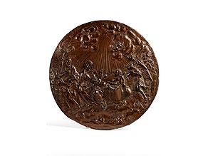 Detail images:  In Kupfer getriebenes Tondorelief des römischen Meisters Angelo De Rossi, 1671 - 1715