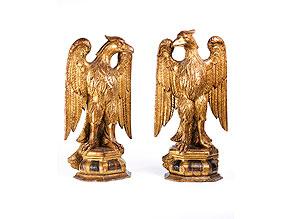 Detail images:  Paar geschnitzte und vergoldete Adlerfiguren