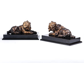 Detail images:  Paar Löwenfiguren in Bronze