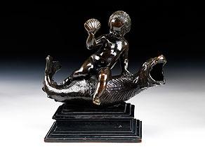 Detail images:  Bronzegruppe eines Putto, auf einem Delfin reitend