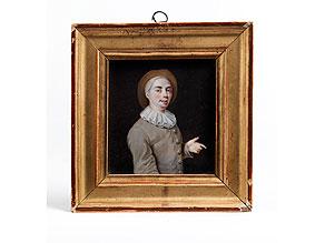 Detail images:  Miniaturportrait eines jungen Mannes in braun-grauem Wams mit Halskrause und Hut
