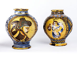 Detail images:  Paar Majolikavasen