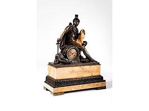 Detail images:  Große Kaminuhr in Bronze und Teil-Feuervergoldung