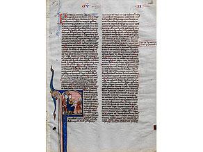 Detail images:  Illustriertes Einzelblatt auf Pergament aus einer Bibelhandschrift des 13. Jahrhunderts mit Schmuck und einer figürlichen Miniatur