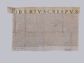 Detail images:  Urkunde des Kardinals Tiberio Crispo von 1545