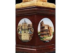 Detail images: Tafelaufsatzschale in Marmor mit Mikromosaik-Ansichten römischer Denkmäler