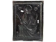 Detail images: Vergoldete Kupferreliefplatte mit Darstellung des thronenden Christus