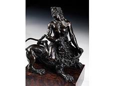 Detail images: Bedeutende italienische Bronzefigur eines Herkules mit dem nemesischen Löwen kämpfend