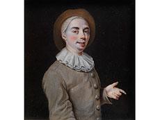 Detailabbildung: Miniaturportrait eines jungen Mannes in braun-grauem Wams mit Halskrause und Hut
