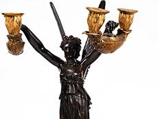 """Detail images: Große Kaminuhr mit Bronzefiguren """"Amor und Psyche"""