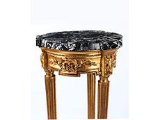 Detail images: Hoher, italienischer Guéridon in Blattvergoldung mit Marmorplatte