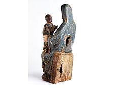Detail images: Schnitzfigur einer Heiligen Anna mit der Heiligen Maria