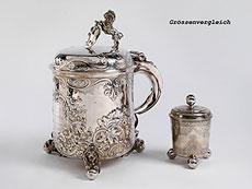 Detail images: Ungewöhnlich großer Deckelhumpen in Silber