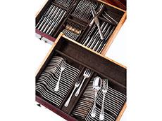 Detail images: Art Déco-Besteckkasten-Kommode mit großem, 12-teiligem Speisebesteck von Christofle in Plated Silber