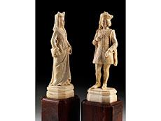 Detail images: Paar Schnitzfiguren in Elfenbein
